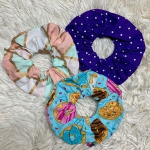 Donuts and mermaid pack of scrunchies